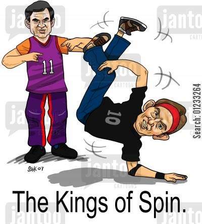 breakdancer cartoon humor: The Kings of Spin.