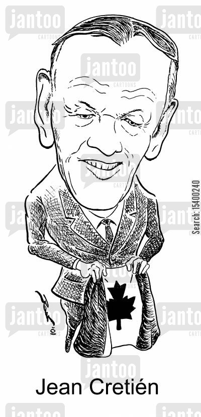 caricature cartoon humor: Canadian PM Jean Cretien
