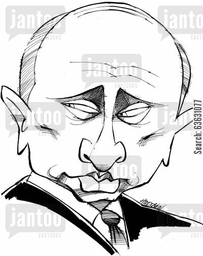 caricature cartoon humor: Vladimir Putin.