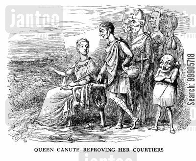 reproves cartoon humor: Queen Canute Reproving Her Courtiers