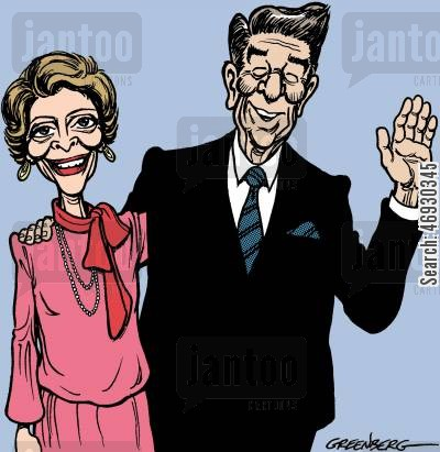 american presidents cartoon humor: Ron and Nancy Reagan.