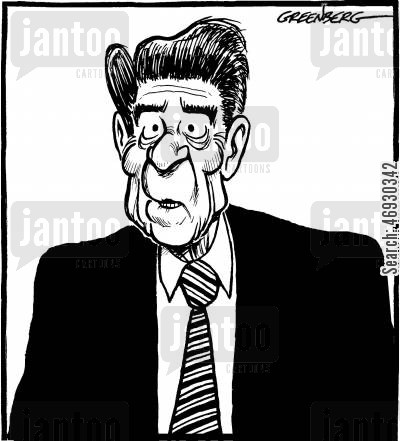 american presidents cartoon humor: Reagan.