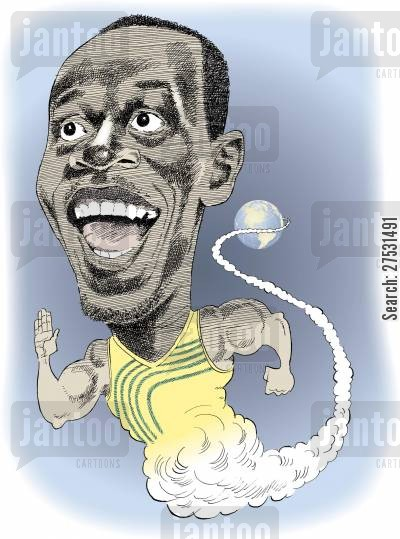 sprints cartoon humor: World record setter Usain Bolt.