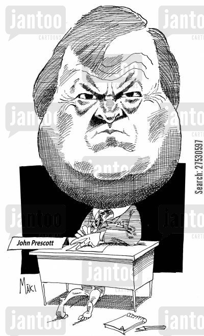 sex scandal cartoon humor: John Prescott.