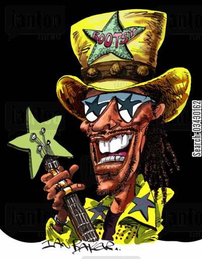 bass player cartoon humor: Bootsy Collins