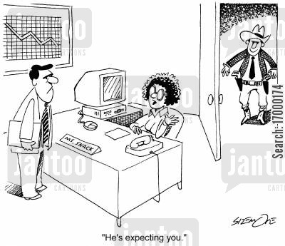 dual cartoon humor: 'He's expecting you.'
