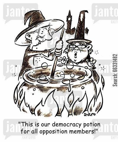may cartoon humor: Dion and May: This is our democracy potion for all opposition members.