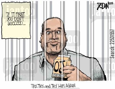 caricatures cartoon humor: OJ Finally Goes Bad.