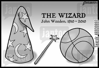 basketball coach cartoon humor: John Wooden.