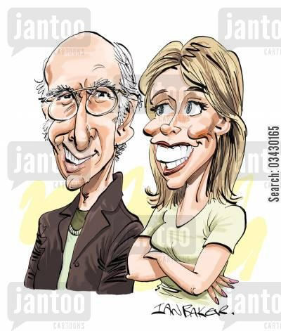 hines cartoon humor: Larry David and Cheryl Hines.