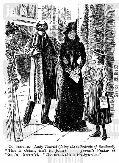 victorian sight-seer cartoon humor: Tour of Cathedrals.
