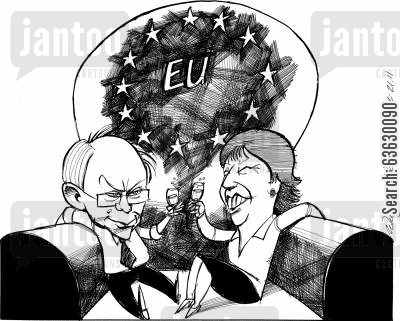 celebrates cartoon humor: Herman Van Rompuy and Catherine Ashton celebrates their victory.