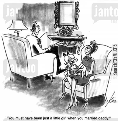 ageing cartoon humor: 'You must have been just a little girl when you married daddy.'