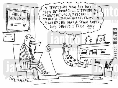 mistrustful cartoon humor: ....why should I trust you?