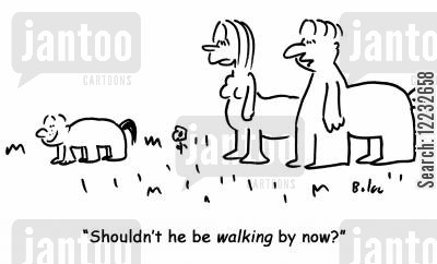 pushy parent cartoon humor: 'Shouldn't he be walking by now?'