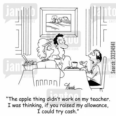 apple for the teacher cartoon humor: 'The apple thing didn't work on my teacher. I was thinking, if you raised my allowance, I could try cash.'
