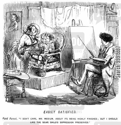 portrait painter cartoon humor: Child having his portrait painted and mother asking for his expression to be preserved