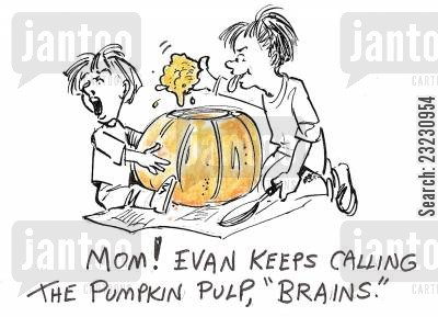 arts and crafts cartoon humor: 'Mom! Evan keeps calling the pumpkin pulp, 'brains.''