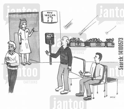 new father cartoon humor: New Fathers taking a number to pick up a baby from Maternity
