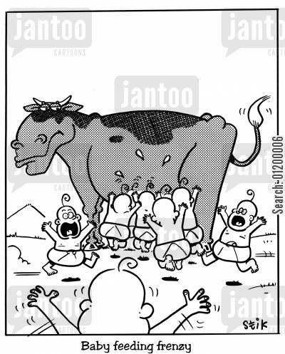overexcited cartoon humor: Baby feeding frenzy