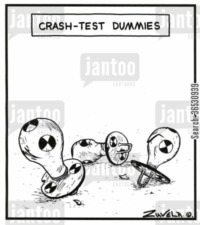 crash test cartoon humor: Crash-test dummies (baby dummies used in crash-testing)