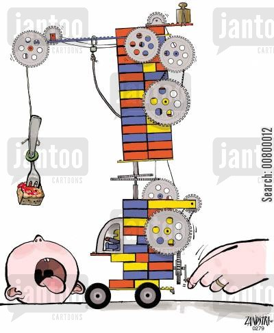 lego cartoon humor: Baby being fed using a lego construction.