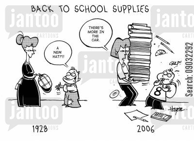 back to school supplies cartoon humor: Back to School Supplies - 1928 'A new hat?!!' 2006 - 'There's more in the car.'