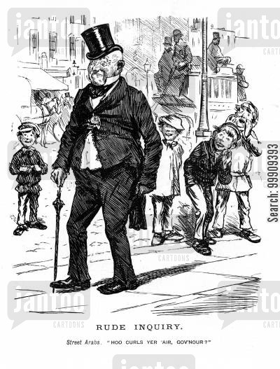 lower classes cartoon humor: A Gentleman is Harrased by Street Children.