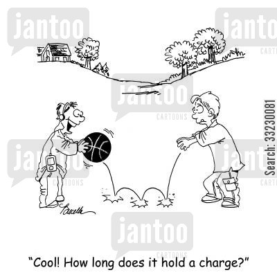 electrics cartoon humor: 'Cool! Hold long does it hold a charge?'