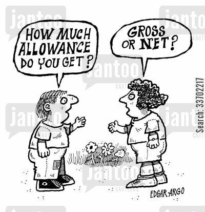 pocket moneys cartoon humor: 'How much allowance do you get?'