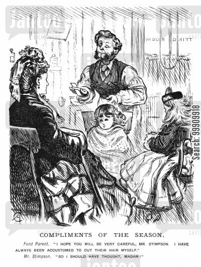 barber's cartoon humor: Girl having her hair cut