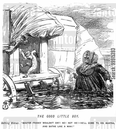 bathing machine cartoon humor: Little boy not wanting to bathe