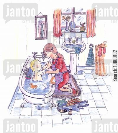 daughers cartoon humor: Bathtime