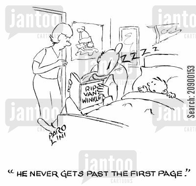 dozing cartoon humor: 'He never gets past the first page.'