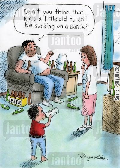 beer bottle cartoon humor: 'Don't you think that kid's a little old to still be sucking on a bottle?'