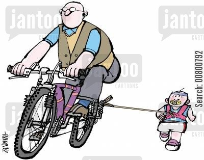 bike riding cartoon humor: Man on bike with child running behind.