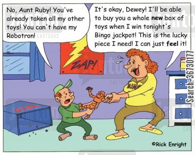 playing bingo cartoon humor: 'No, Aunt Ruby! You've already broken all my other toys!' 'Dewey, this is the lucky piece I need for tonight's BINGO jackpot!'