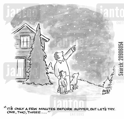 nighttimes cartoon humor: 'It's only a few minutes before supper, but let's try. One, two, three...'