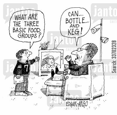 assignmen cartoon humor: 'What are the three basic food groups?'