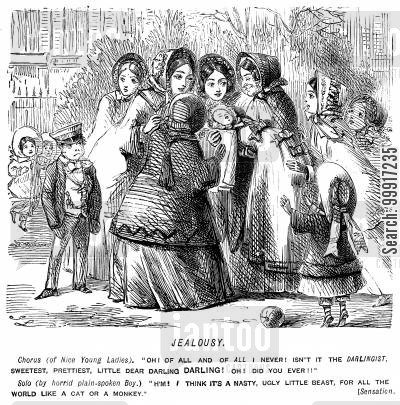 jealousy cartoon humor: Crowd of ladies giving attention to a baby whilst a jealous boy looks on.