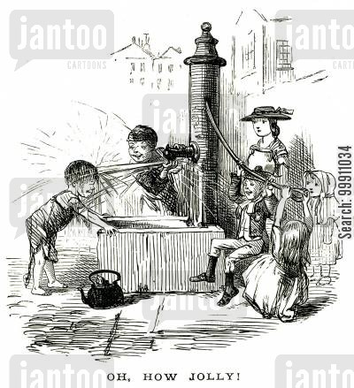 playful cartoon humor: Children playing around a water pump