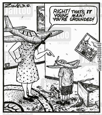 naughty kid cartoon humor: 'RIGHT! That's IT young man! You're grounded!'