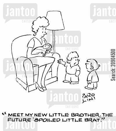 brat cartoon humor: 'Meet my new little brother. The future 'spoiled little brat'.'