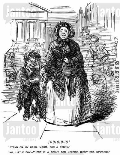 performance cartoon humor: Boy offers to stand on his head for a penny - woman pays a penny for him to remain upright.