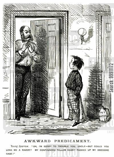 juvenile cartoon humor: Young boy asking his uncle for a razor