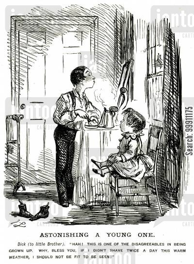 juvenile cartoon humor: A young boy shaving