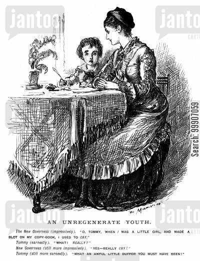 cheeky cartoon humor: A lady teaching a young man to write
