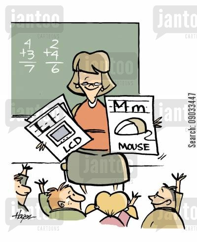 reception class cartoon humor: M- Mouse, L- LCD.