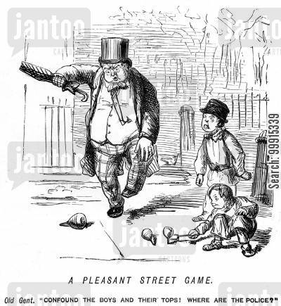 street games cartoon humor: Old man annoyed by children's spinning tops