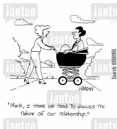 going out together cartoon humor: 'I think we need to discuss the nature of our relationship.'